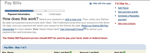 Screen grab from Chase online bill payment service